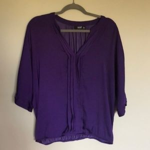 a.n.a. Banded Purple Blouse